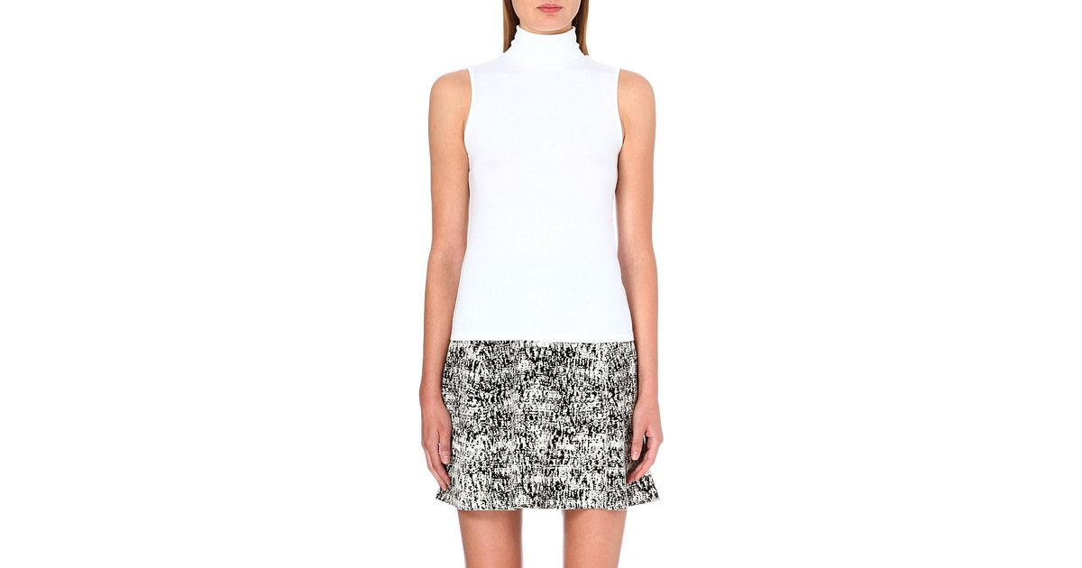 7d93ed845dd20 Theory Wendel Sleeveless Turtleneck Top in White - Lyst