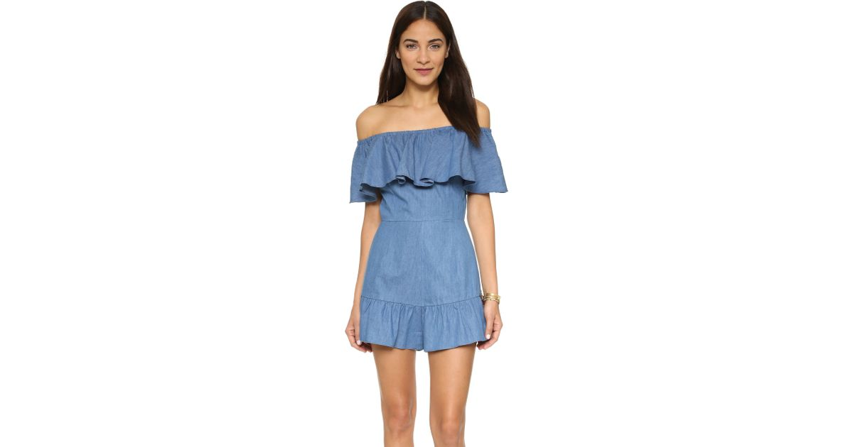 756a583fe883 Lyst - Shakuhachi Genie Off Shoulder Romper in Blue