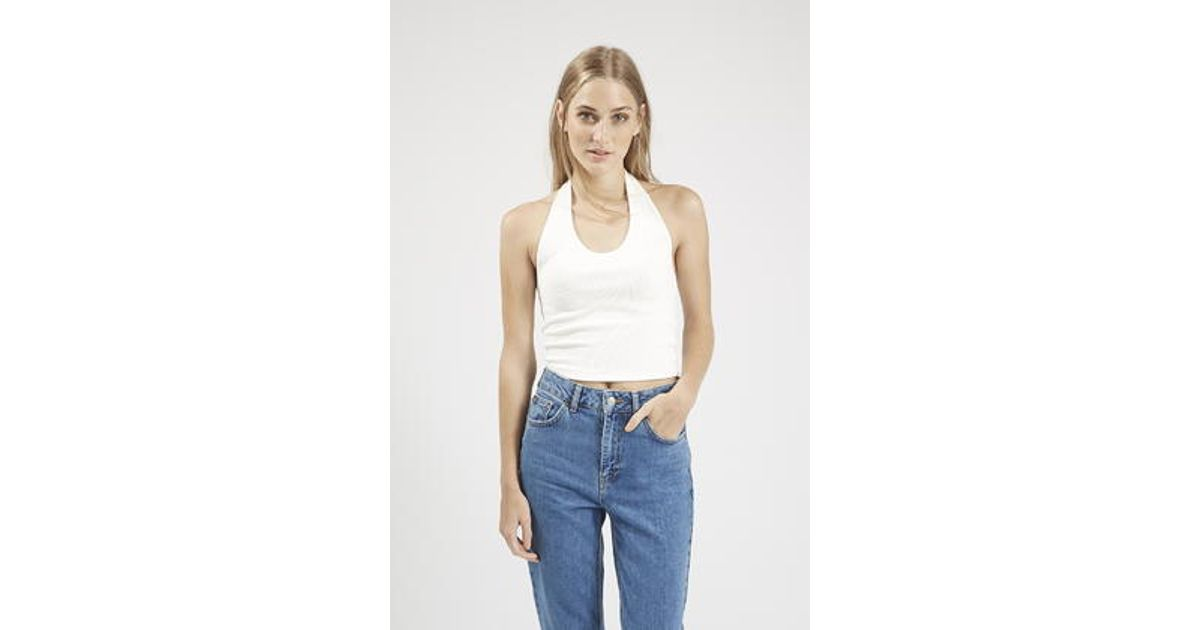 f5ca52d265d99d TOPSHOP Ribbed Halter Crop Top in White - Lyst