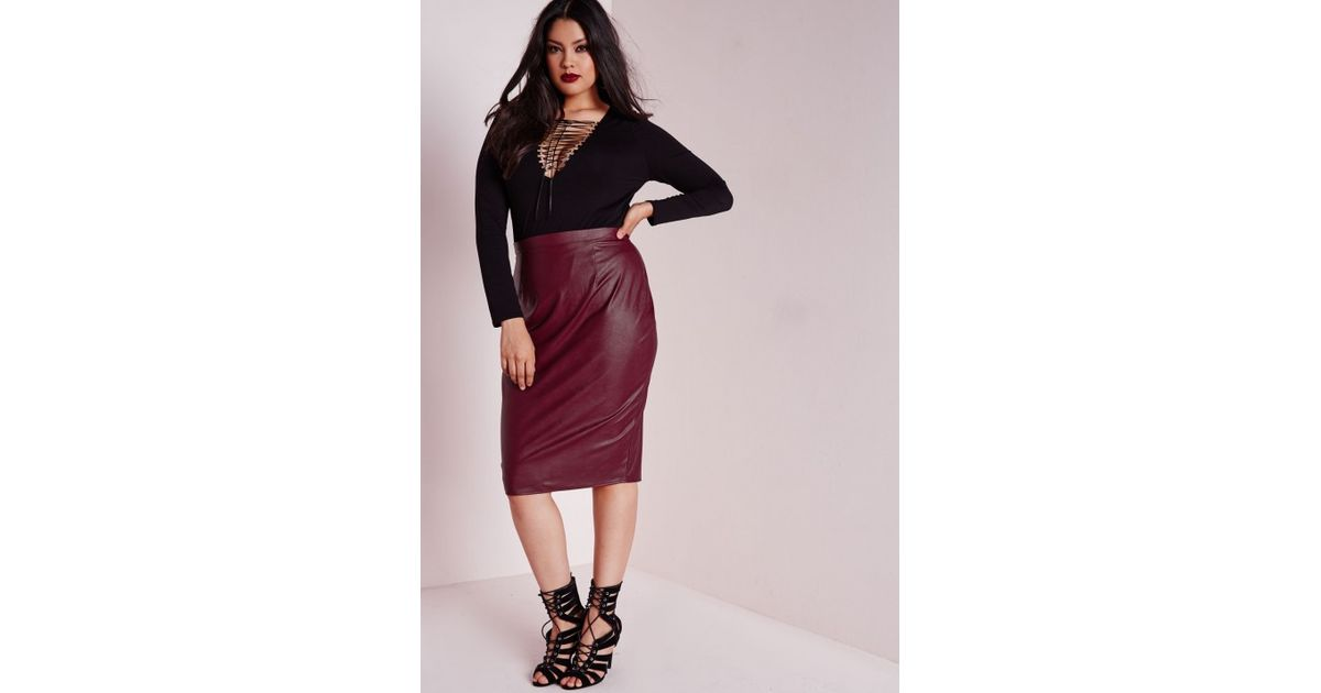 56a469c9b21 Lyst - Missguided Plus Size Faux Leather Midi Skirt Burgundy in Purple