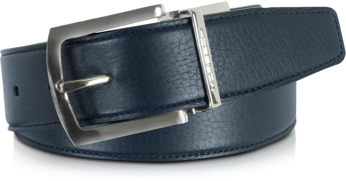 moreschi orlando navy blue blue reversible leather belt in