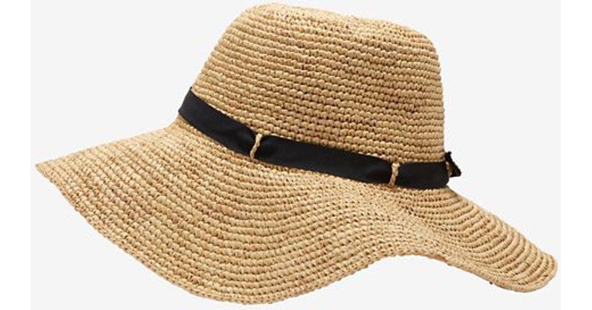 ddb81da1 Hat Attack Navy Ribbon Trim Crochet Raffia Floppy Hat in Blue - Lyst