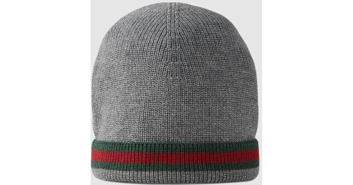 49108a53a3e5a Lyst - Gucci Knit Wool Web Hat in Gray for Men