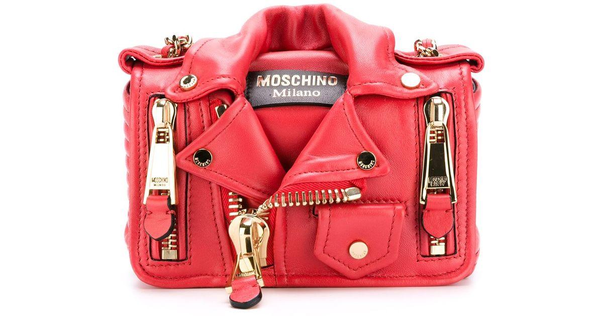 80331033fd9 Moschino Biker Crossbody Bag in Red - Lyst