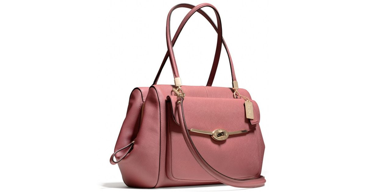 7a9256aebf72 ... low price lyst coach madison madeline eastwest satchel in saffiano  leather in red 137ff 96f66