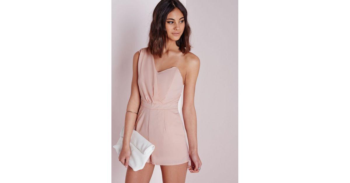 865e1605bc6a Lyst - Missguided Tibieta One Shoulder Romper in Pink