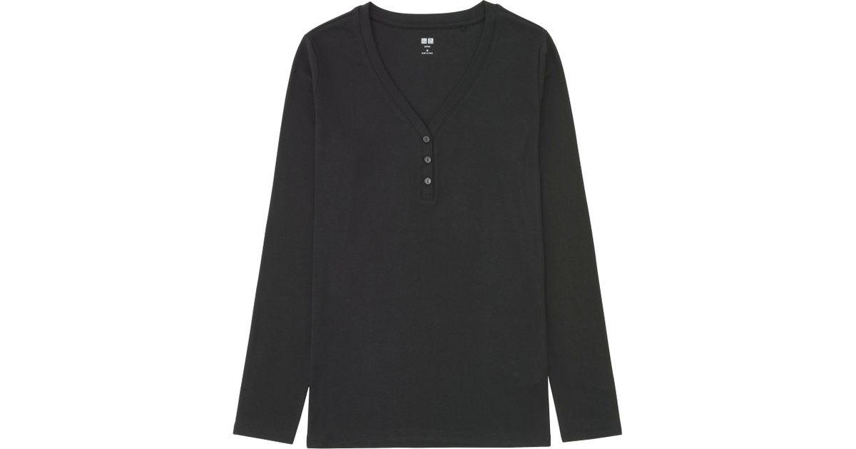 5e267a53 Lyst - Uniqlo Women Supima Cotton Modal Henley Neck Long Sleeve T-shirt in  Black