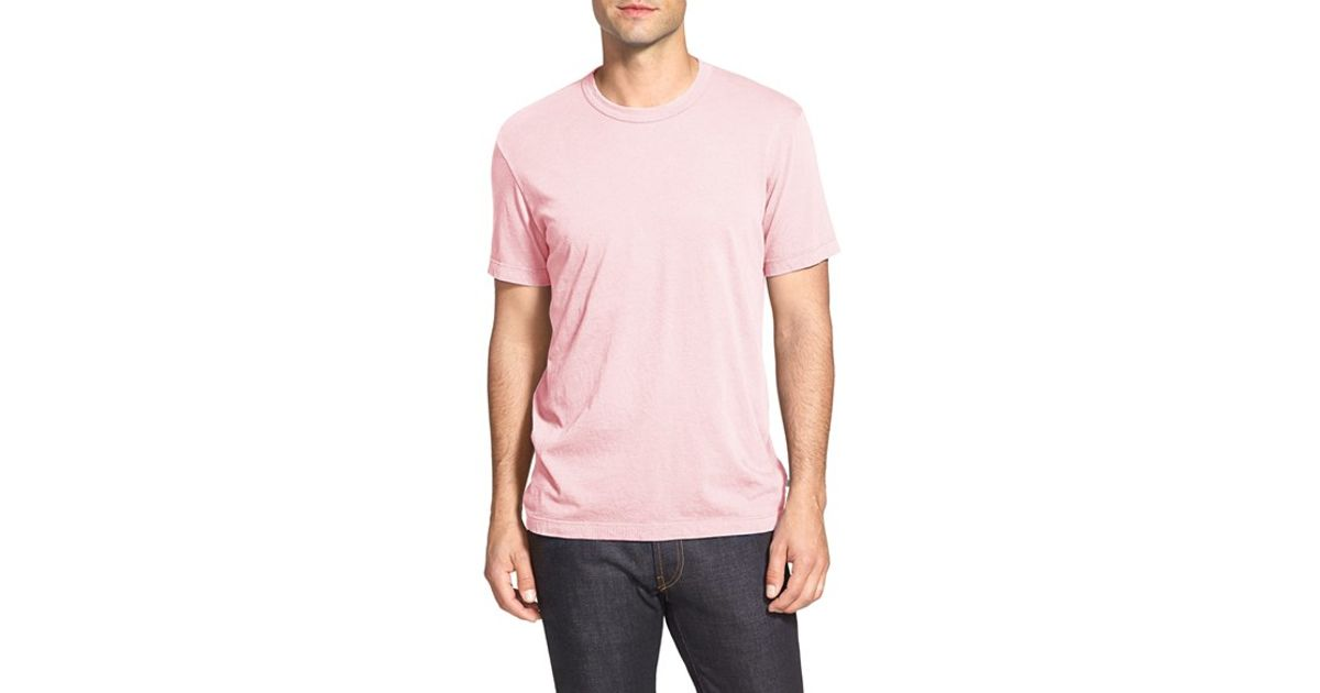 James perse crew neck jersey t shirt in pink for men lyst for James perse t shirts sale