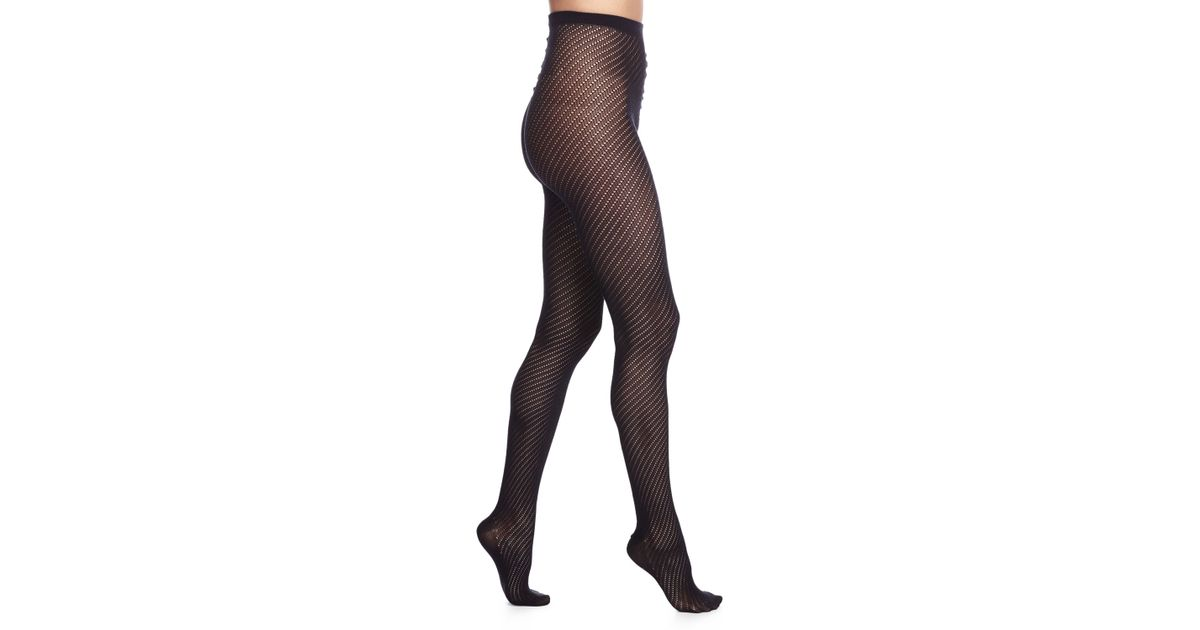 Lyst Wolford Adelia Open Knit Pattern Sheer Tights In Black