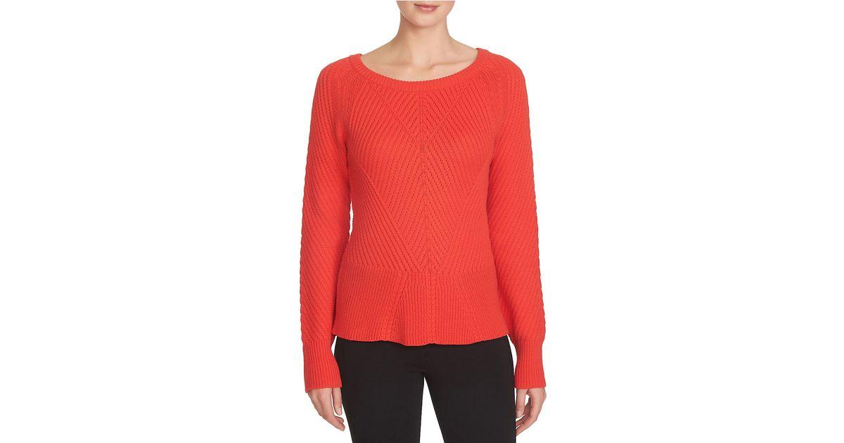Knitting Pattern Peplum Cardigan : 1.state Knit Peplum Sweater in Red (Scarlet) Lyst