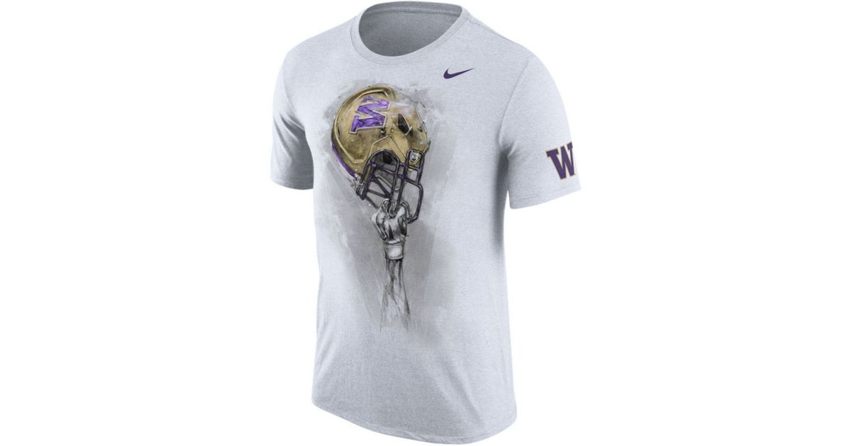 Nike Men 39 S Washington Huskies Helmet T Shirt In White For