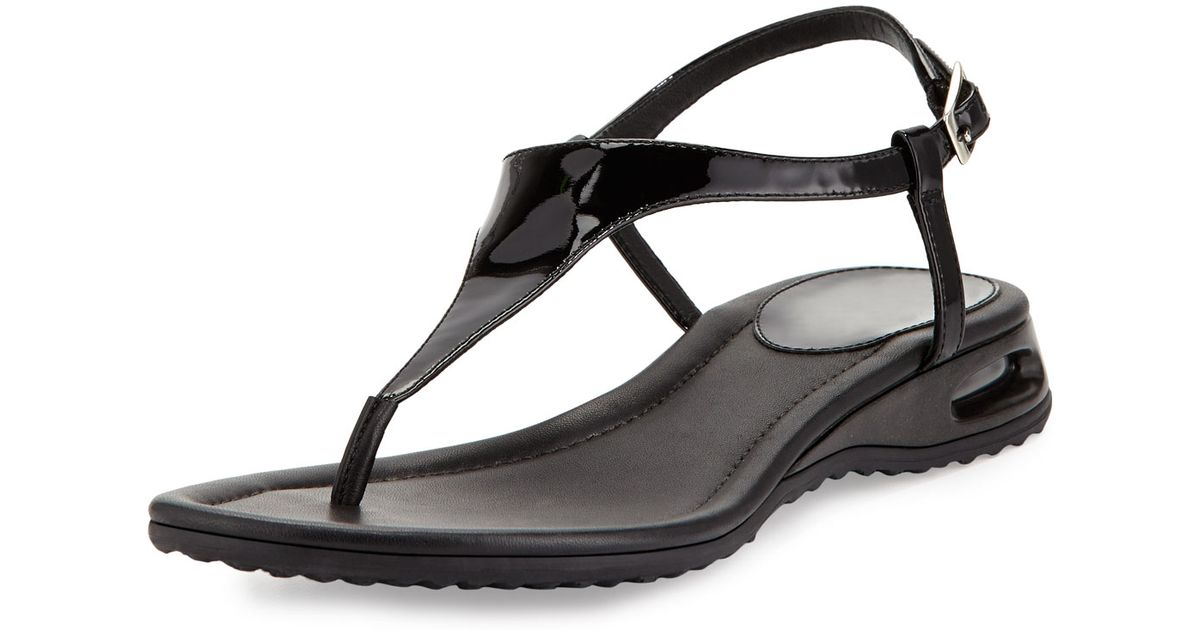 215ac0cde30 Cole Haan Air Bria Patent Thong Sandal in Black - Lyst