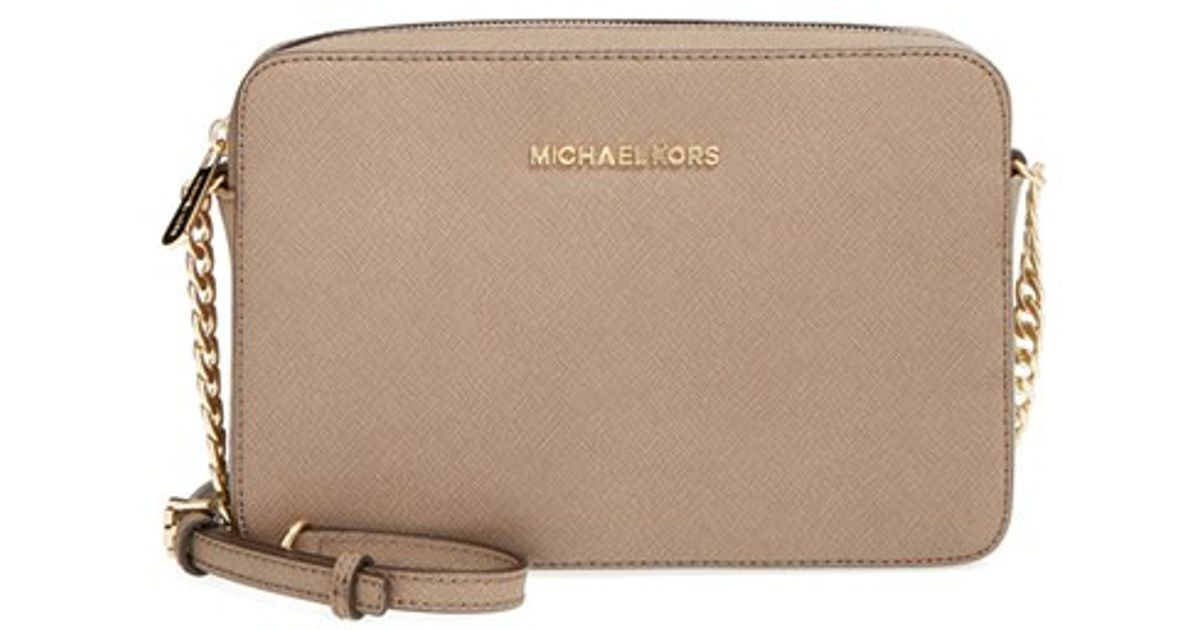 067ceed9811b MICHAEL Michael Kors 'large Jet Set' East/west Saffiano Crossbody Bag in  Natural - Lyst