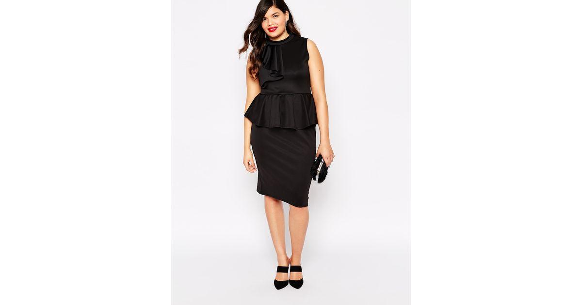 02a6476e4f3 Praslin Plus Size Peplum Dress With Ruffle Detail in Black - Lyst