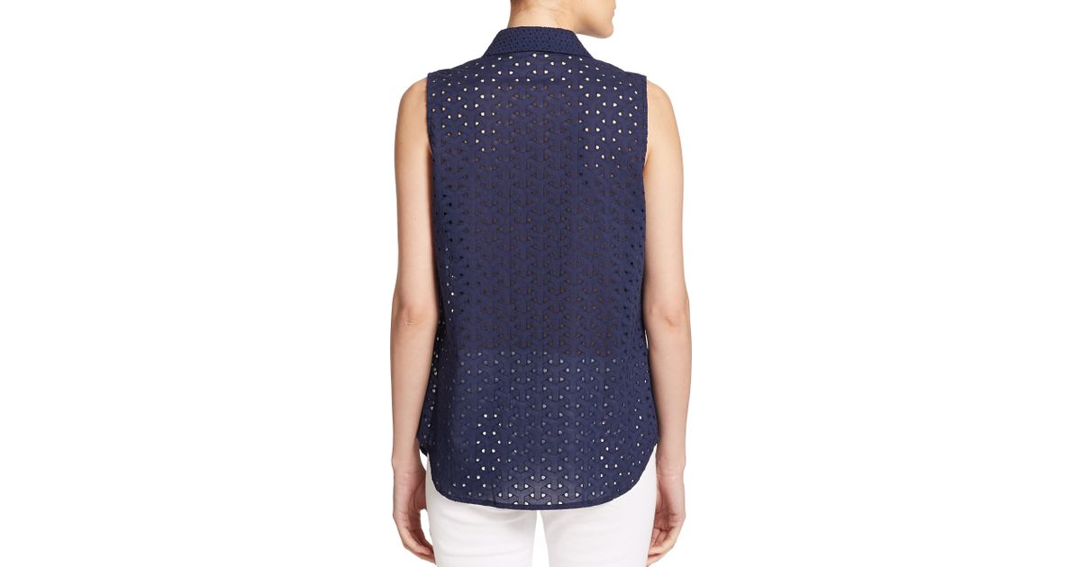017991a4723b68 Lyst - Equipment Colleen Cotton Eyelet Sleeveless Blouse in Blue