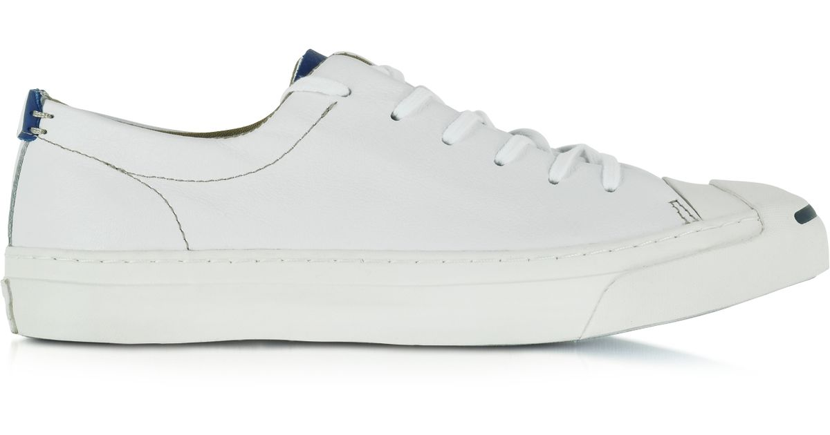 b4d15a1a1d64 Lyst - Converse Jack Purcell Ltt Ox White And Road Trip Blue Men s Sneaker  in White for Men