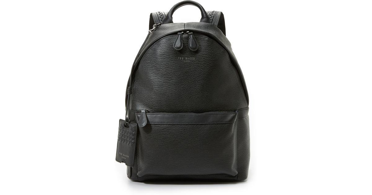 ted baker heyriko leather backpack in black for men lyst. Black Bedroom Furniture Sets. Home Design Ideas