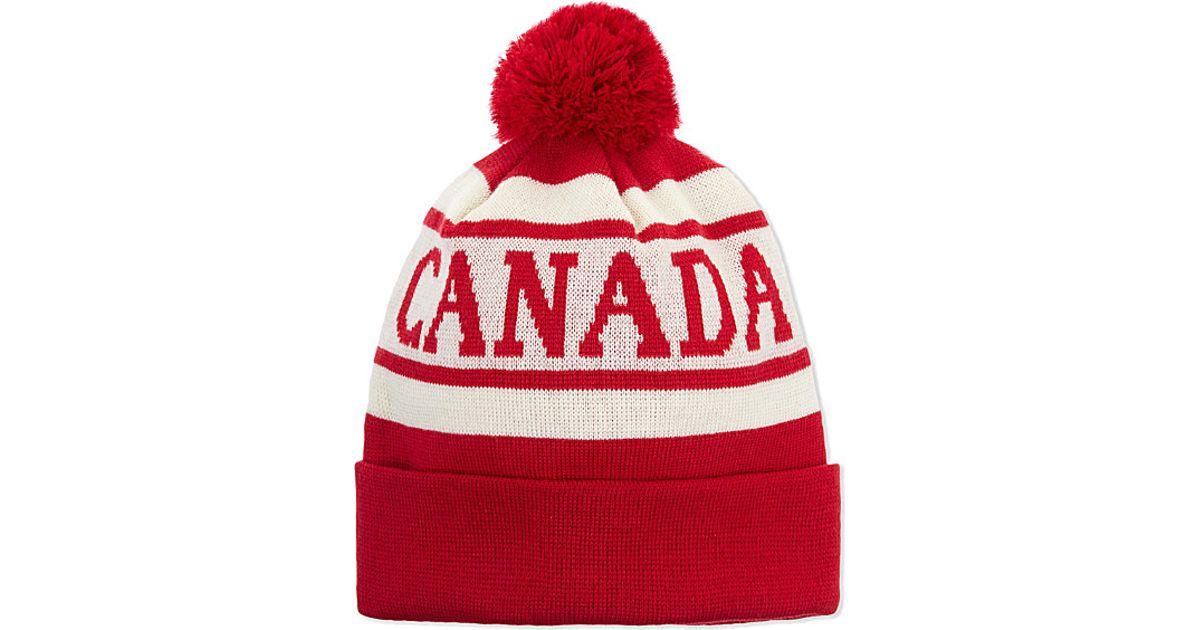 Canada Goose Merino Wool Logo Printed Pom Hat