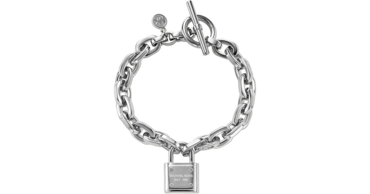 Michael Kors Silver Tone Chain And Logo Padlock Bracelet In
