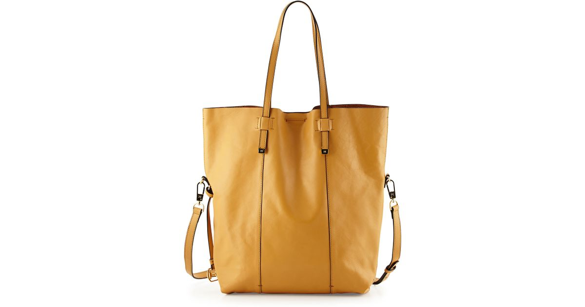 63f0242a90 Lyst - Halston North-South Leather Tote Bag in Brown