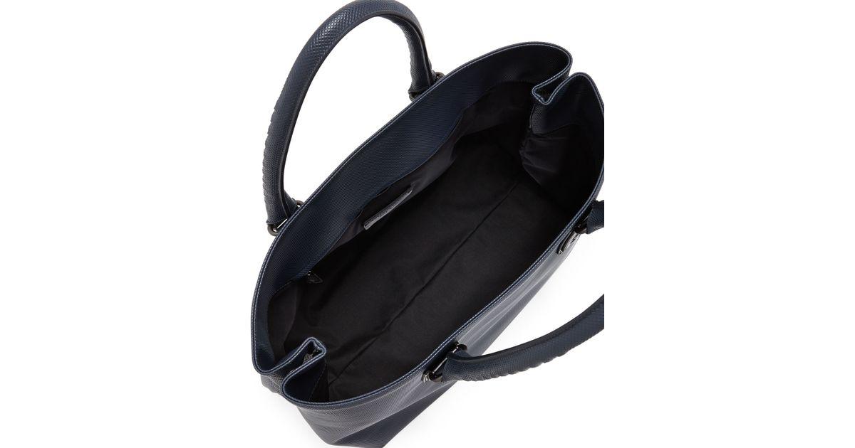 06f24921b Lyst - Bottega Veneta Intrecciato-Trim Stamped Medium Tote Bag in Blue