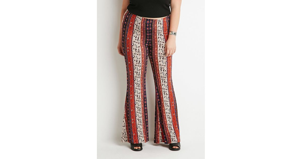 9447c567dcf35 Lyst - Forever 21 Plus Size Floral-stripe Flared Pants You ve Been Added To  The Waitlist in Brown