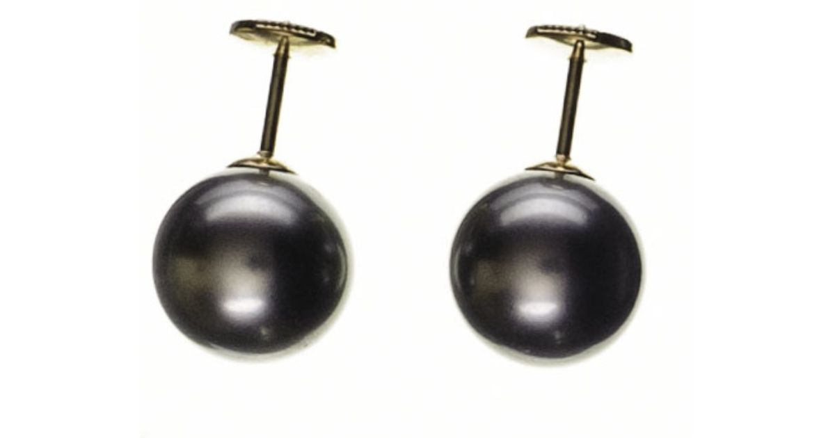 Uk Cordelia Large Round Tahitian Black Pearl Ear Studs In