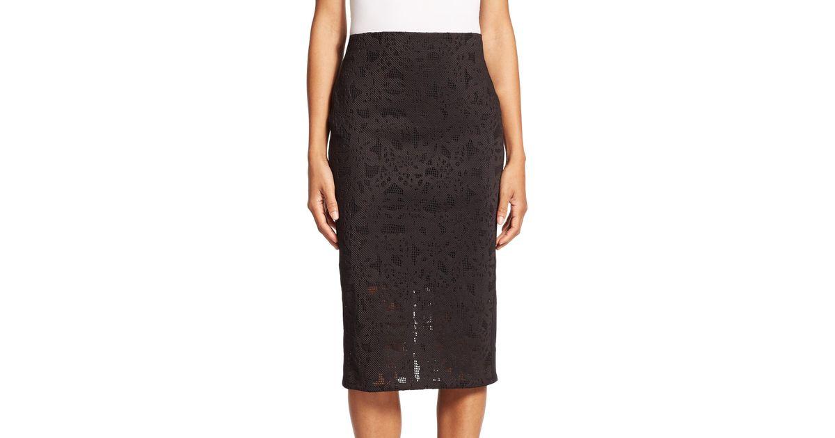 die cut pencil skirt in black lyst