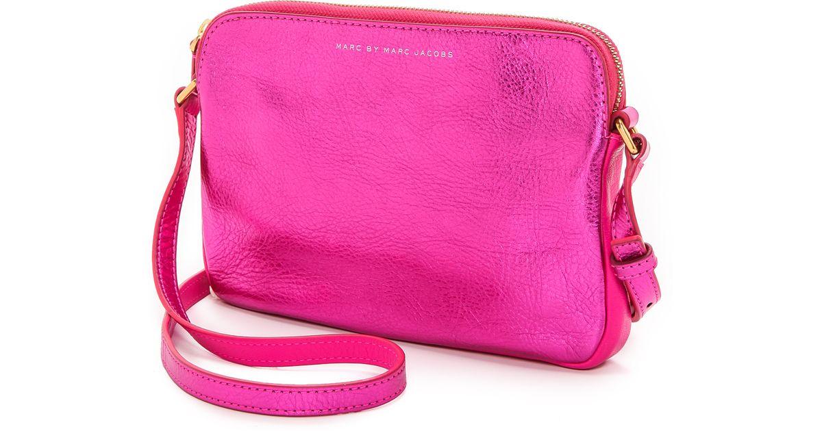 Lyst Marc By Jacobs Sophisticato Metallic Dani Cross Body Bag Pink In