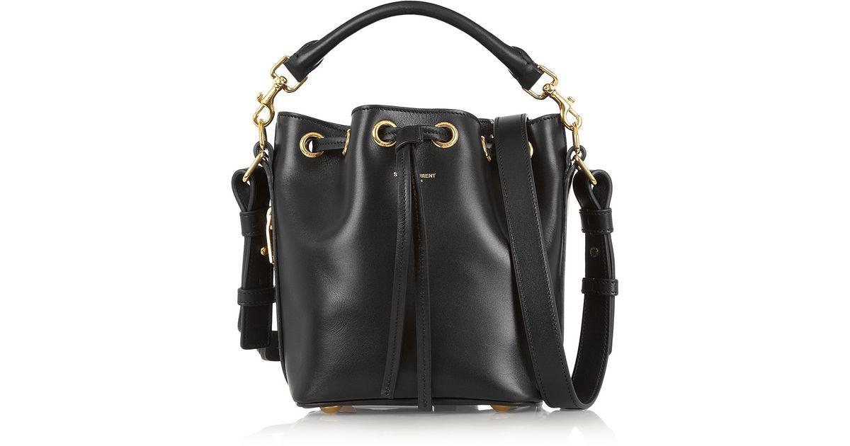 5afbc884fb0f Lyst - Saint Laurent Emmanuelle Small Leather Bucket Bag in Black