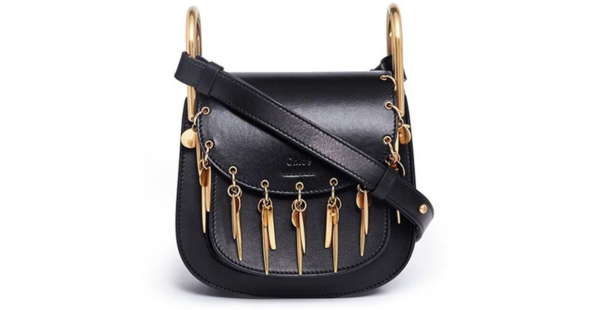 7bb7d7b085 Chloé 'hudson' Mini Charm Leather Saddle Bag in Black - Lyst