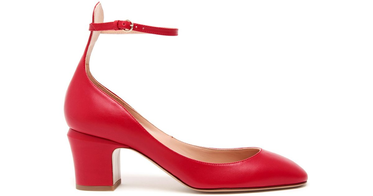 Lyst - Valentino Tango Matte Leather Mary Jane Pumps in Red