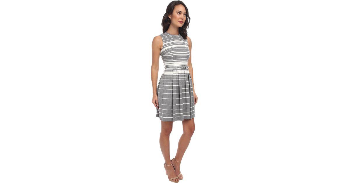 calvin klein striped lux dress w full skirt cd4x73w5 in gray lyst