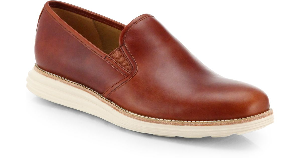a9e56803e31 Lyst - Cole Haan Lunargrand Two-Tone Leather Slip-On Loafers in Brown for  Men