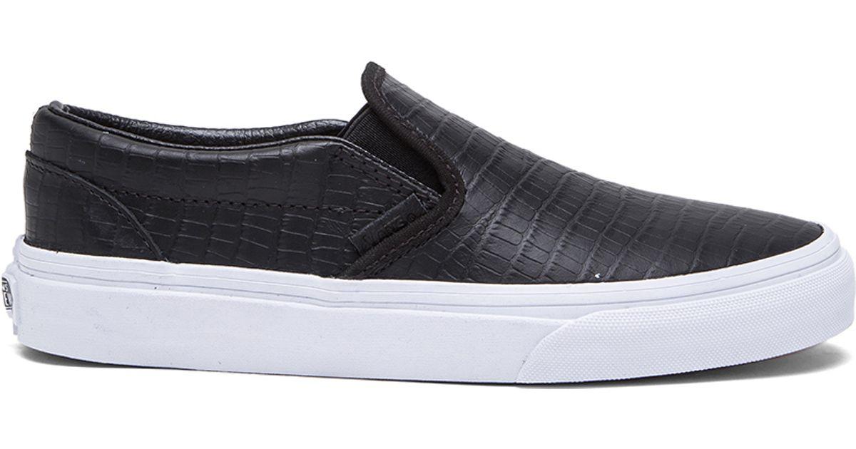 64271002ac Lyst - Vans Classic Croc Leather Slip-On Sneakers in Black