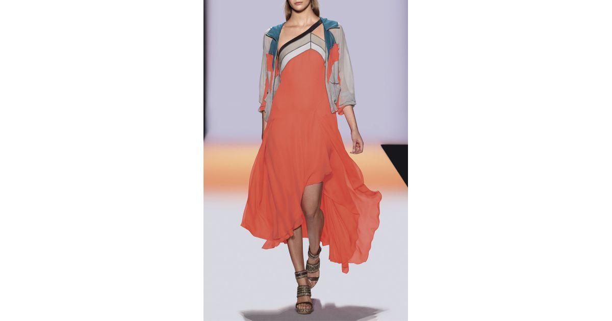 BCBGMAXAZRIA Womens Kaia Two-Tiered Dress with Neck Detail