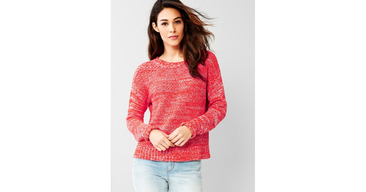 a2d4fafd29034 Gap Marled Crew Sweater in Red - Lyst