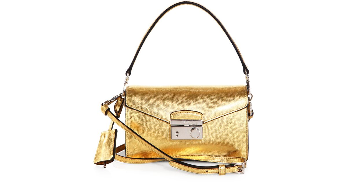 6a05cfab7e Lyst - Prada Saffiano Leather Mini Sound Crossbody Bag in Metallic