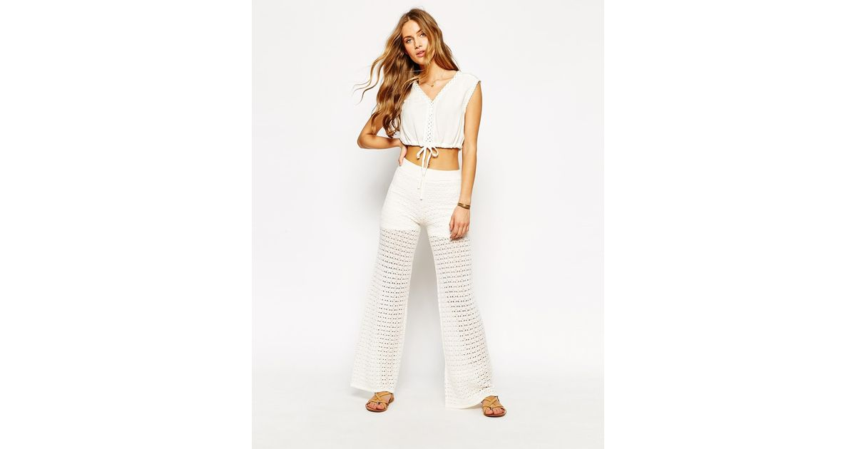 cheapest excellent quality super specials Mango Synthetic Crochet Wide Leg Trouser - White - Lyst