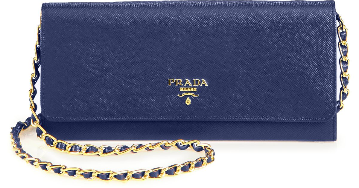 Prada Saffiano Metal Oro Chain Wallet in Blue (bluette-blue) | Lyst
