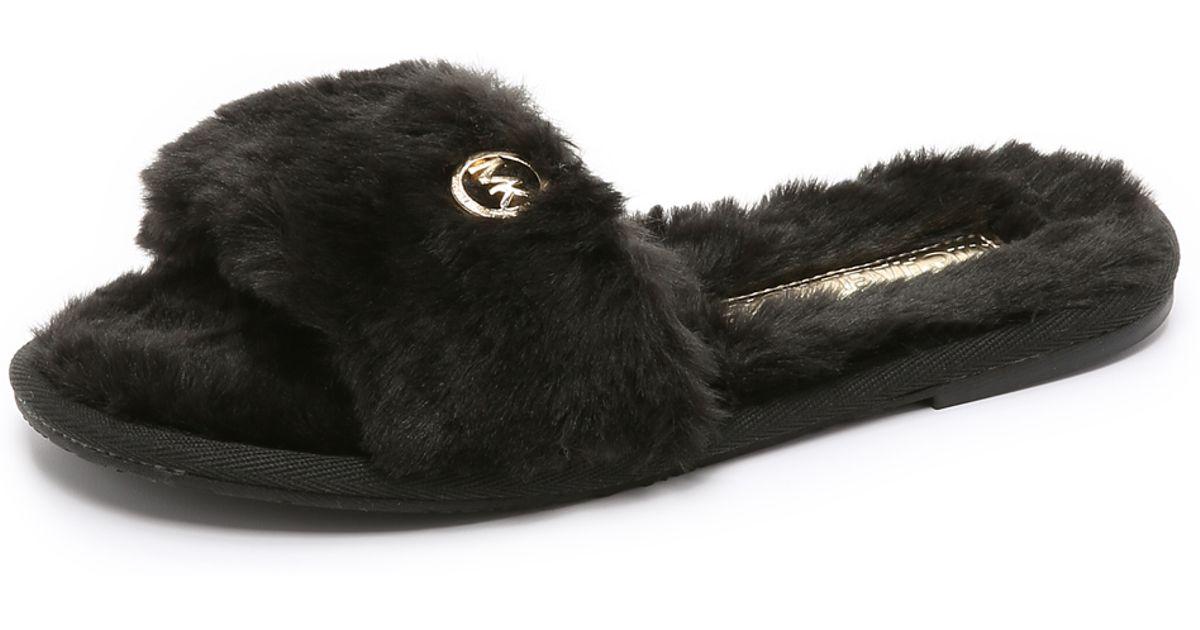1c4d3c8cb9d9 Lyst - MICHAEL Michael Kors Jet Set Faux Fur Slide Slippers - Black in Black