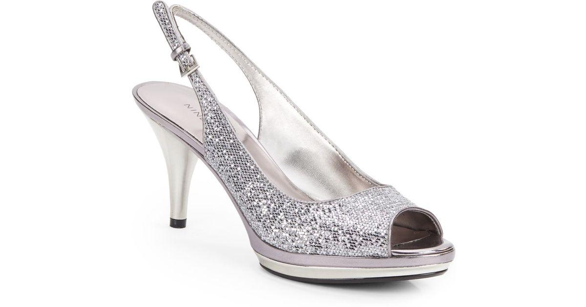 dd435eeda4b Nine West Metallic Sharina Glittery Peep-Toe Slingbacks