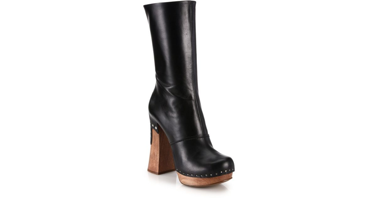 Prada Wooden-Heeled Leather Boots in
