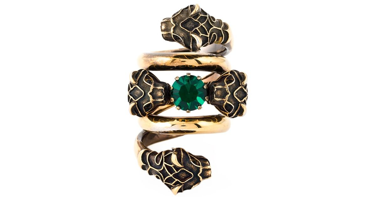 e12ceba93 Gucci Snake Head Ring in Green - Lyst