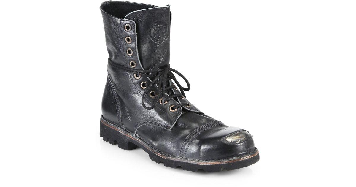 DIESEL Leather Hardkor Steel Lace-up