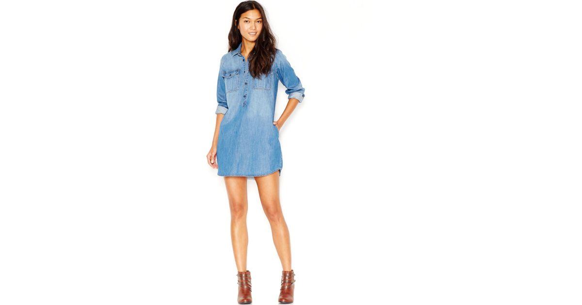 e546da263dd77 Lyst - Lucky Brand Lucky Brand Long-sleeve Denim Shirtdress in Blue
