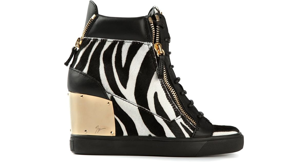 bef5775e22c Giuseppe Zanotti Zebra Print Hi-Top Sneakers in Black - Lyst