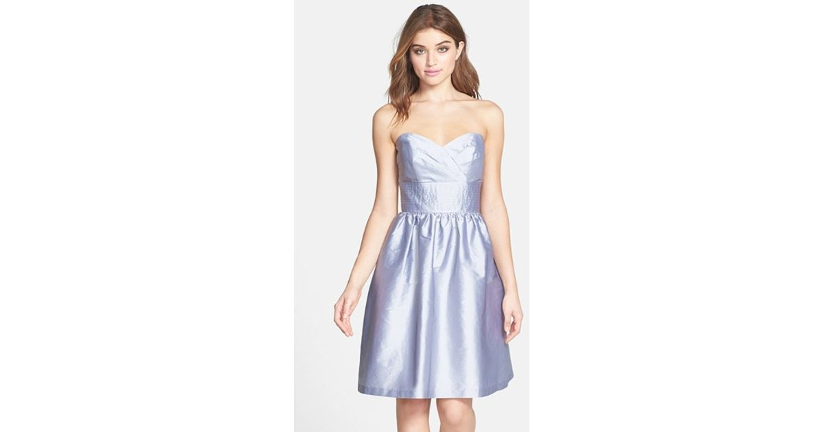 Lyst - Alfred Sung Strapless Satin Fit & Flare Dress in Gray