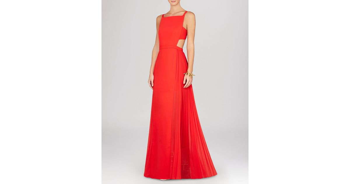 Lyst - Bcbgmaxazria Gown - Brielle Sleeveless Side Cutout Pleat ...