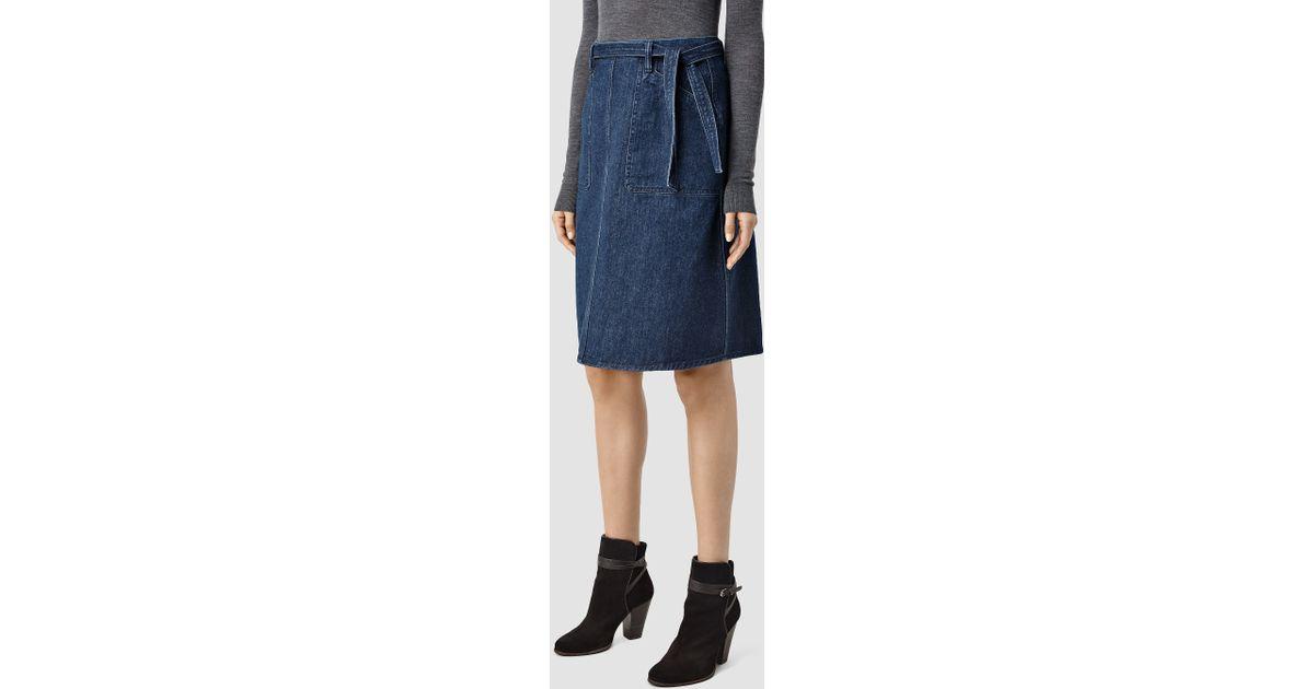 allsaints stilla denim a line skirt usa usa in blue lyst